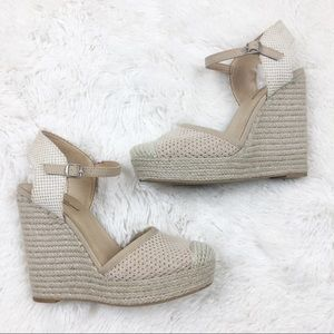 Lucky Brand Natural Crochet Espadrille Wedges